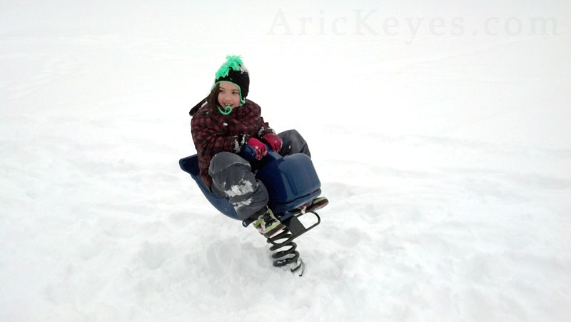 Riding a blue whale in the winter