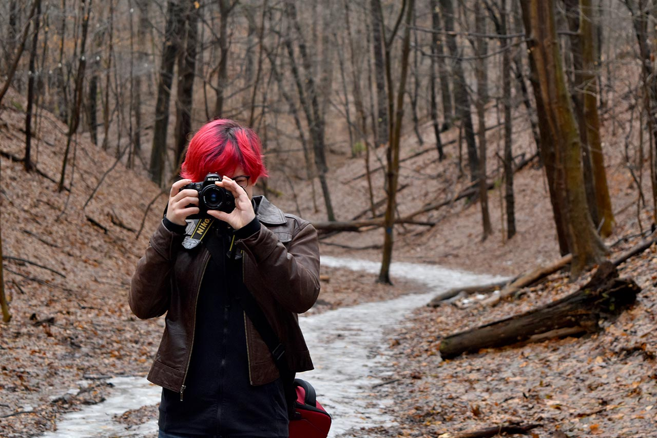 Red headed photographer